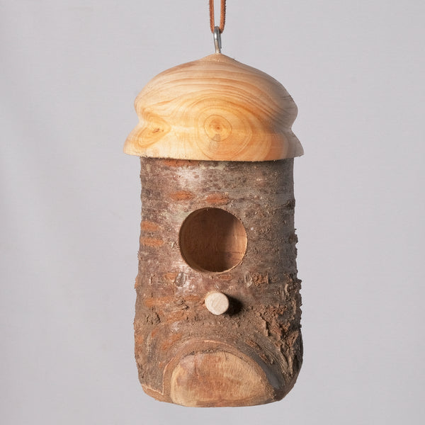 Small Birdhouse - Hummingbird House - Cherry Log house with Milled top, Yellow Pine 1 - Melanie - MH Studios