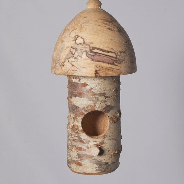 Small Birdhouse - Hummingbird House - Cherry Log house with Milled top of Spalted Maple 4