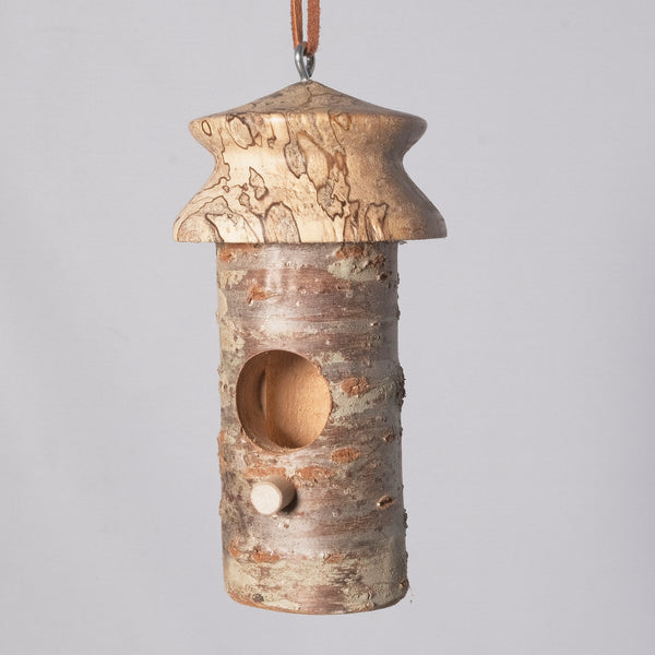Small Birdhouse - Hummingbird House - Cherry Log house with Milled top of Spalted Maple 5 - Melanie - MH Studios
