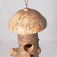 Small Birdhouse - Hummingbird House - Cherry Log house with Milled top of Spalted Maple 10 - Melanie - MH Studios