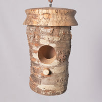 Small Birdhouse - Hummingbird House - Cherry Log house with Milled top of Spalted Maple 2 - Melanie - MH Studios