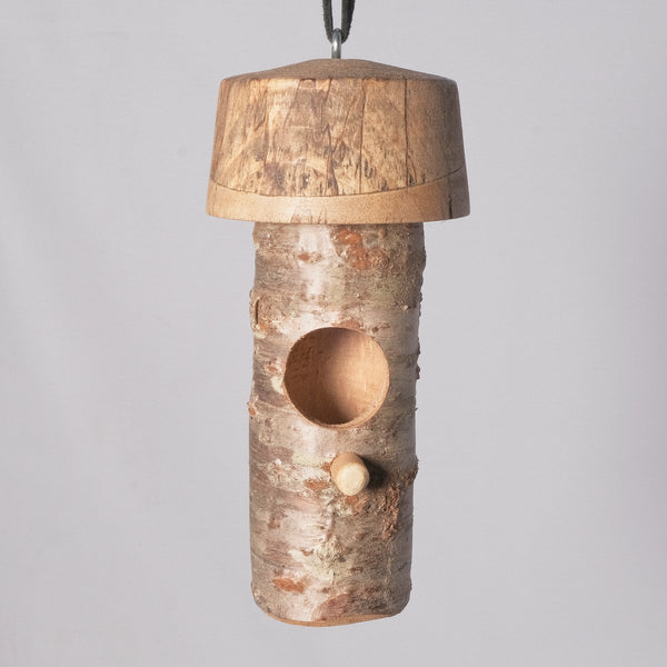 Small Birdhouse - Hummingbird House - Cherry Log house with Milled top of Spalted Maple 6 - Melanie - MH Studios