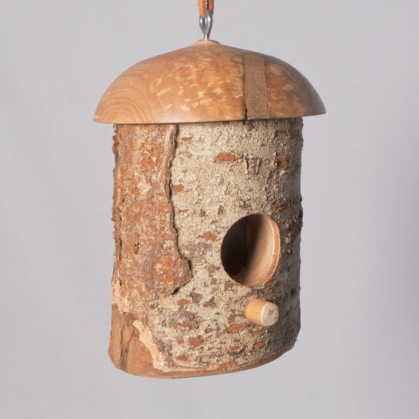 Small Birdhouse - Hummingbird House - Cherry Log house with Milled top, Bradford Pear - Melanie - MH Studios
