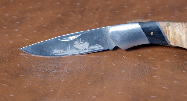 Knife - White Limba Burl wood, chrome with Moose etching on the blade - Melanie - MH Studios