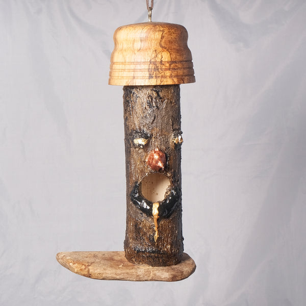 Small Birdhouse - Hummingbird House - Bamboo with Sculpted face, Spalted Maple and Pear