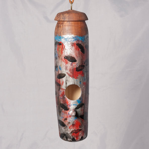 Small Birdhouse - Hummingbird House - Bamboo painted with Spalted Woods - Melanie - MH Studios