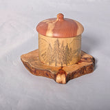 Small Organic Wooden Jewelry Box - Cedar and Etching on Bamboo- # 2 - Melanie - MH Studios