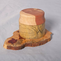 Small Organic Wooden Jewelry Box - Cedar and Etching on Bamboo- # 3 - Melanie - MH Studios