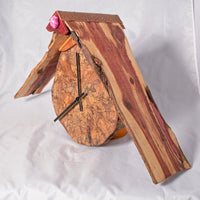 Wall Clock - Lebanon Cedar roof with Spalted maple face hangs on wall - Melanie - MH Studios