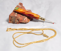 Single seam ripper on a gold chain with acrylic handle, gold, red and green swirls - Melanie - MH Studios