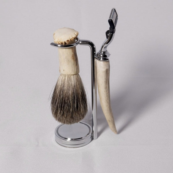 Shaving tools - Antler Shed Shaving Set with Razor and Badger hair brush - Melanie - MH Studios