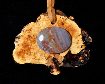Necklace - Book matched spalted Maple with stone