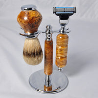 Razor set with Badger hair brush - Spalted maple - Melanie - MH Studios