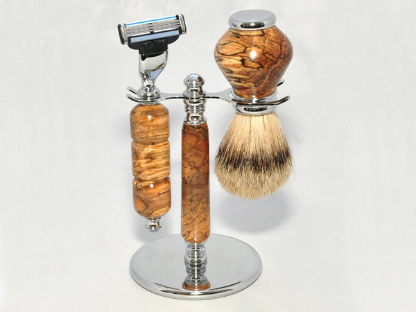 Razor set with Badger hair brush - Spalted maple