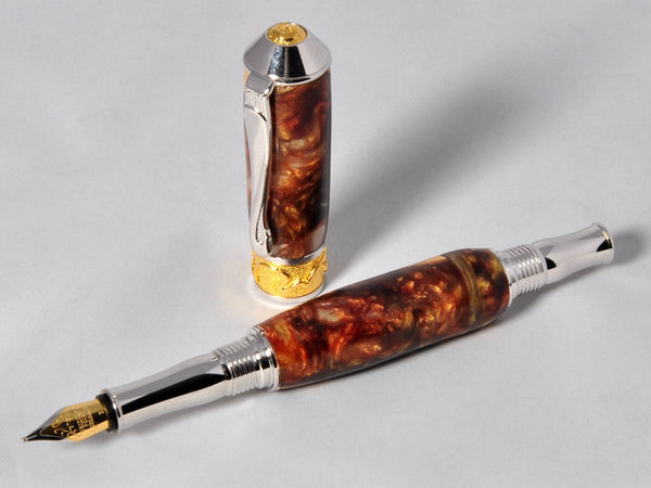 "Pen - Handmade Fountain Pen, Acrylic / Wood fountain pen, 22kt gold, 'The Odyssey 3"" - Melanie - MH Studios"