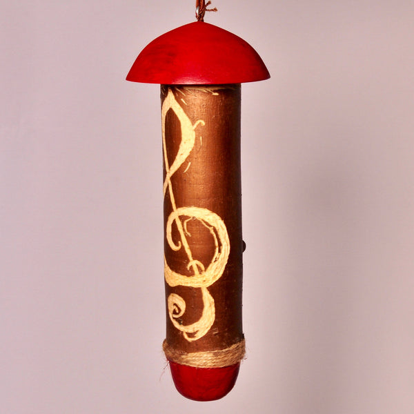 Small Birdhouse - Hummingbird House - Red top and bottom with carved music Cleft - Melanie - MH Studios