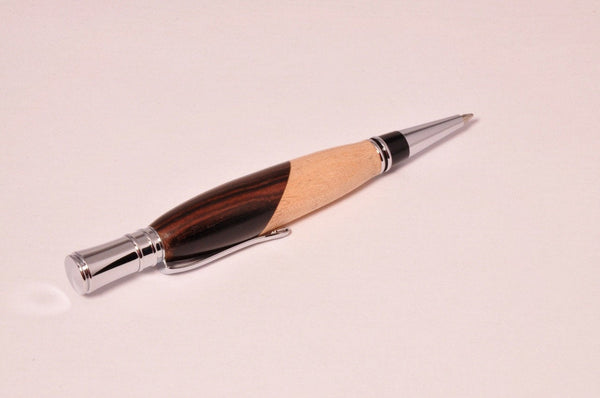 Pen - Executive Chrome Twist Pen with Bolivian Rose wood and Maple - Melanie - MH Studios