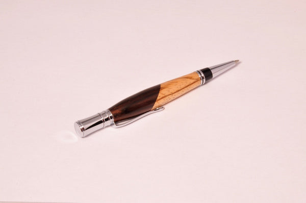 Pen - Executive Chrome Twist Pen with Bolivian Rose wood and Zebra wood - Melanie - MH Studios