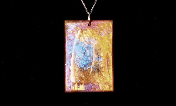 Necklace - Antler shed embedded in gold, purple, and blue resin - Choker style