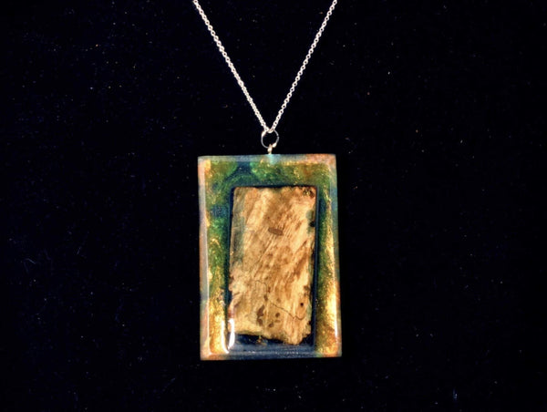 Necklace - Burl wood, Gold Pearlex and Blue translucent color. - Melanie - MH Studios