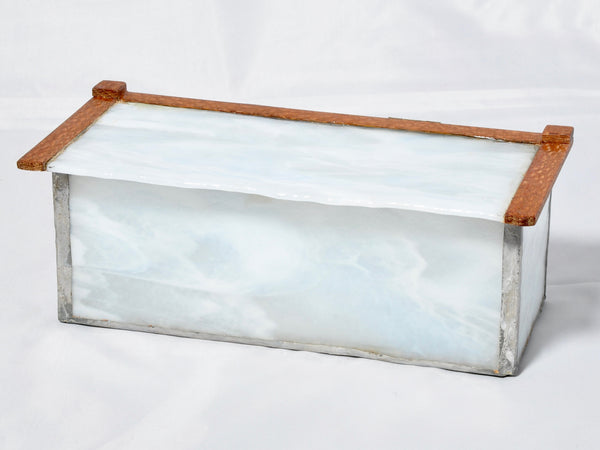 Box - White Swirly glass Box with Natural edge top and Leopard wood - Melanie - MH Studios