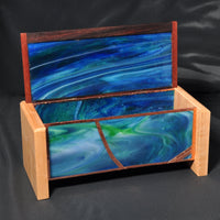 Box - Green Swirly Glass Box with copper embellishments. - Melanie - MH Studios