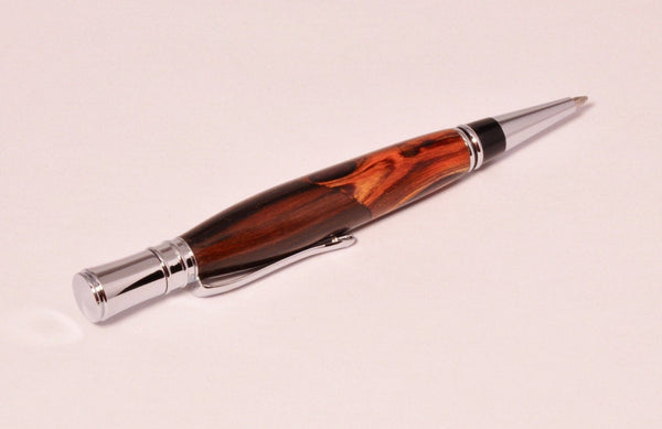 Pen - Executive Chrome Twist Pen with Bolivian rose wood and Cocobolo - Melanie - MH Studios