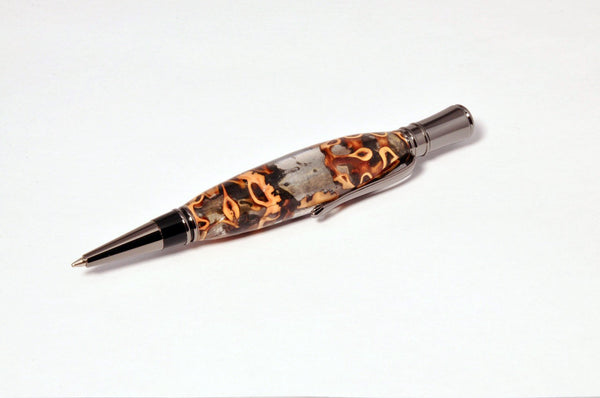Pen - Executive Chrome Twist Pen with Clear Resin and Walnut shells - Melanie - MH Studios