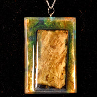 Necklace - with Burl wood, Gold Pearlex and Blue translucent color.