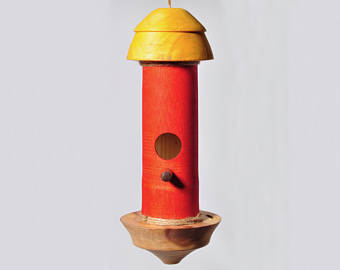 Small bird House / Hummingbird House Red bamboo