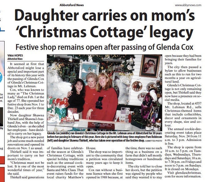 Glenda's Christmas Cottage History