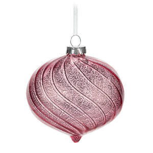 Antique Pink Glass Onion Ornament