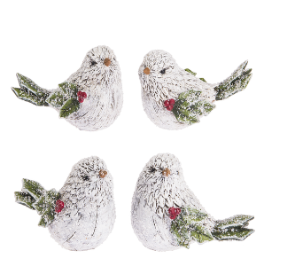 White resin birds w evergreen tails