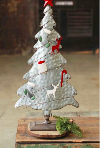 Galvanized metal tree w red star deer mittens