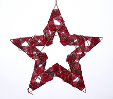 Load image into Gallery viewer, Red Burlap Star Ornament