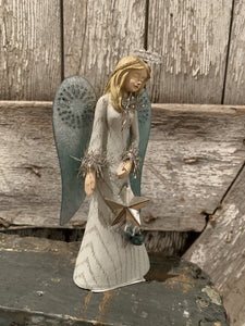 Country-style, white washed angel with copper wings