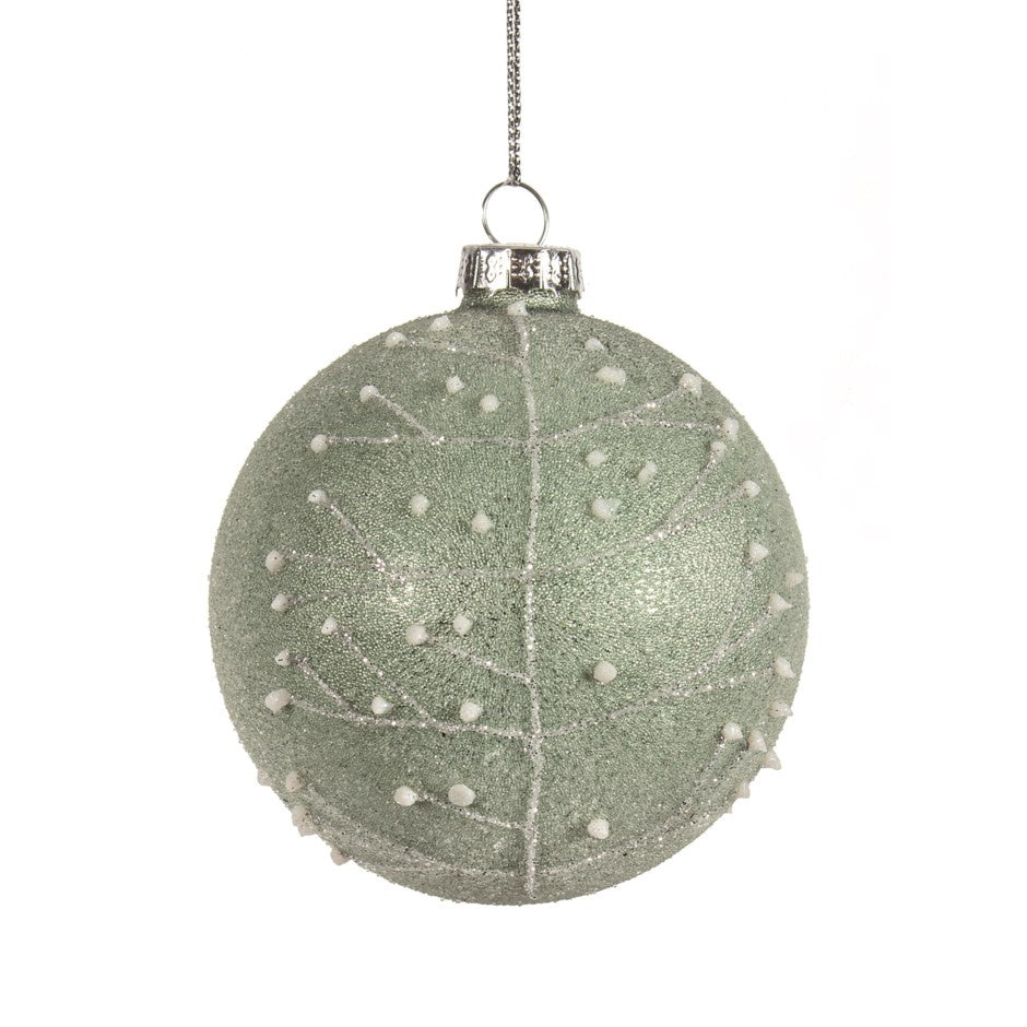 Frosted Green Ball Ornament