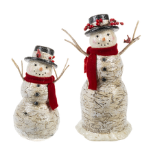 Load image into Gallery viewer, Glittery Birch Look Snowman - 2 sizes
