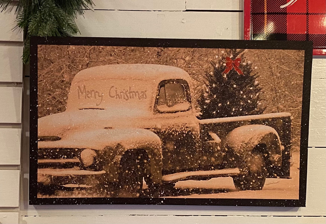 LED Canvas Picture with Vintage Truck