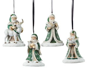 Old Fashioned Green Robed Santa Ornaments 4 styles
