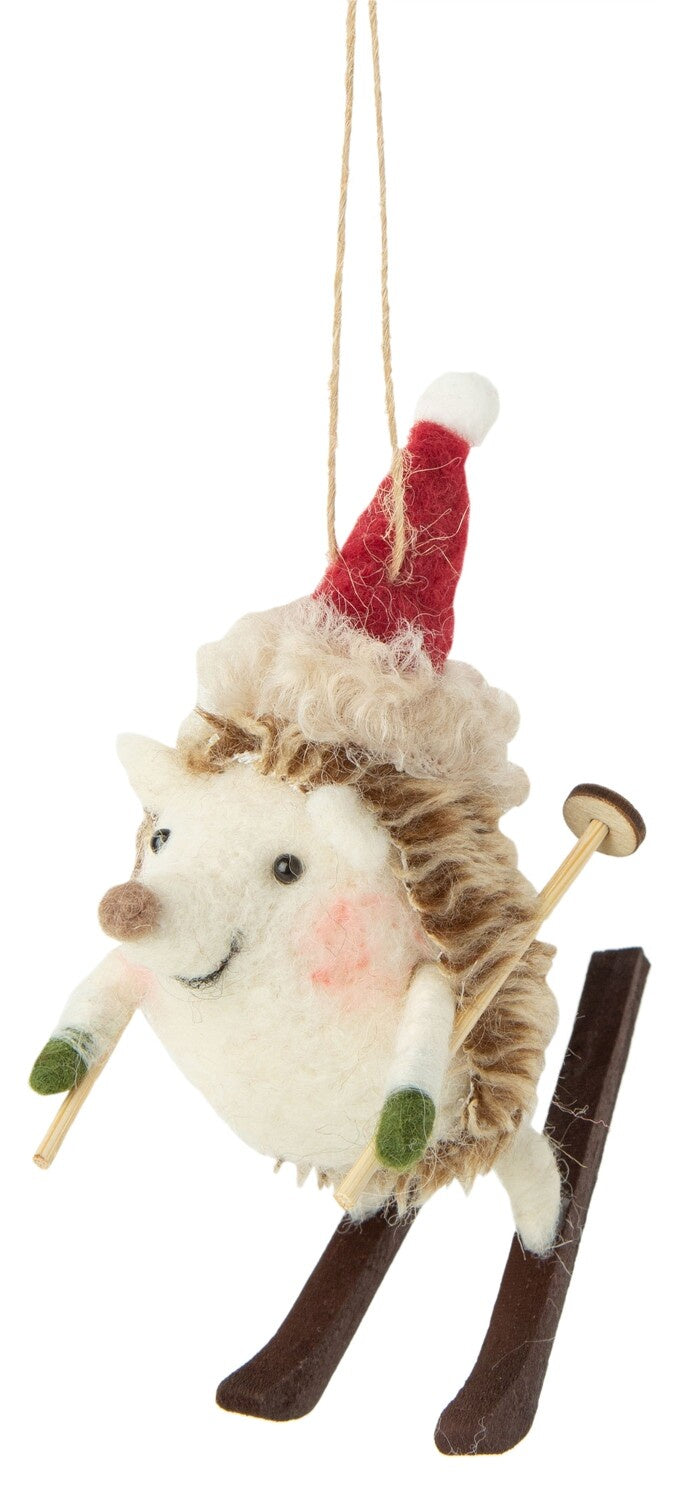 Felt Skiing Hedgehog with Red Hat Ornament