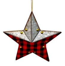 Load image into Gallery viewer, Buffalo plaid star w metal ornament