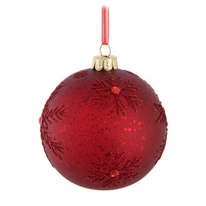 Red Snowflake Ball Ornament