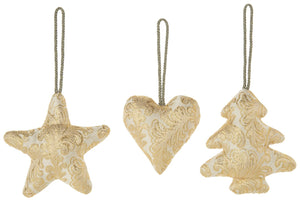 Gold w Cream Damask Fabric Ornaments -3 styles