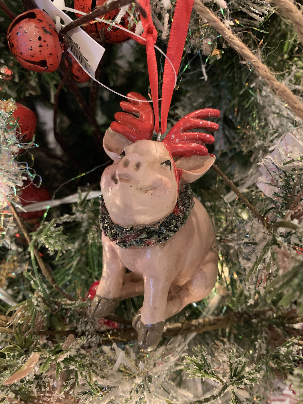 Pig w Antlers Ornament