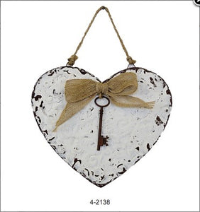 8 inch Vintage white Heart with Key ornament