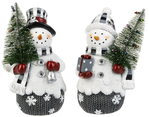 Black and White Plaid  Snowman Figures with trees 2 asst