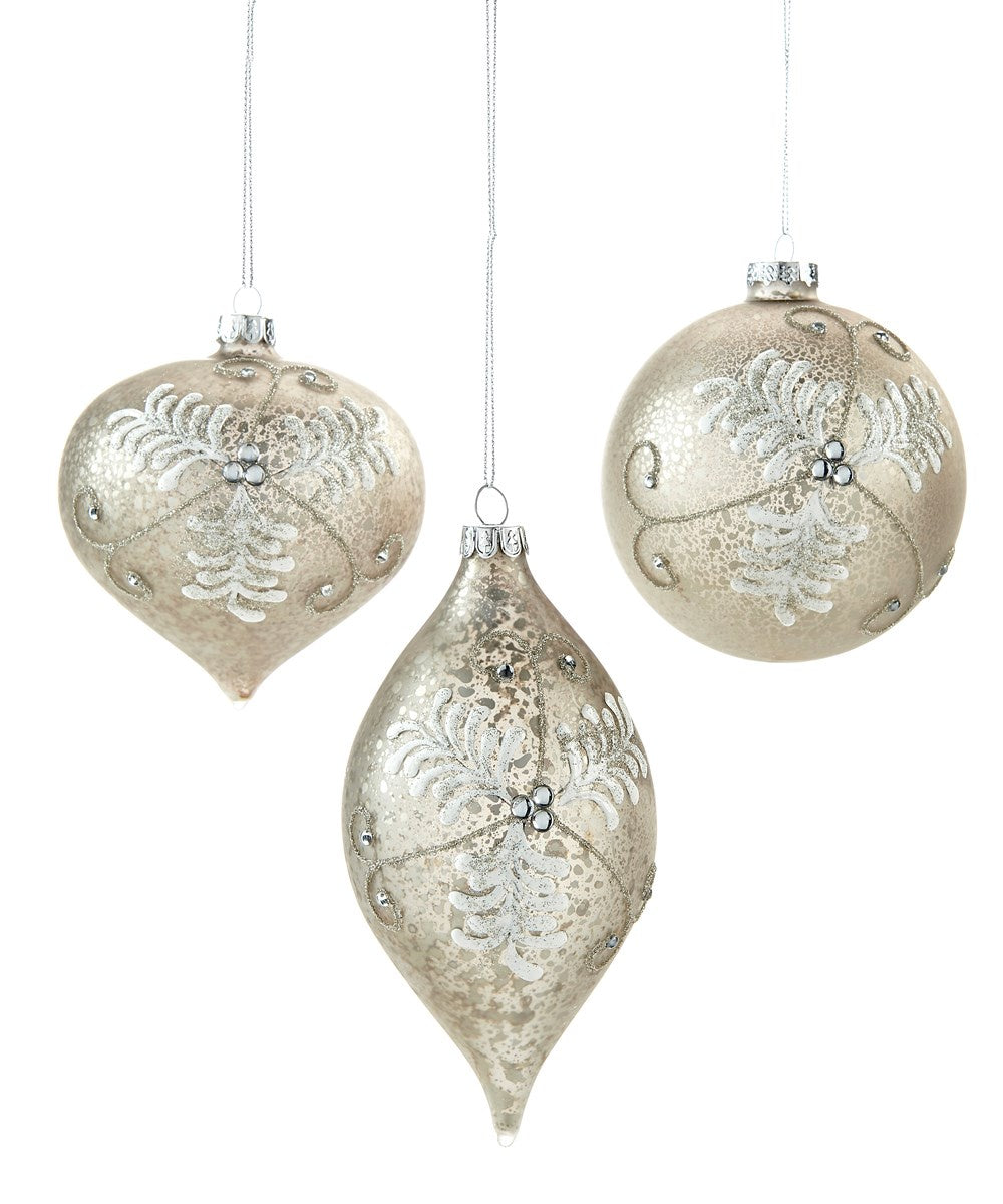 Gold Glass Ball Ornament w Leaf Design,3Asst