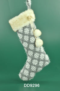 G ray Fabric Snowflake Pattern Stocking with Pom Pom Fur Ball (18 in)