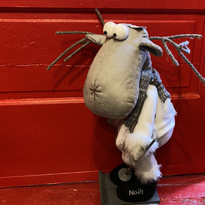 Standing Grey Plush Moose on Skis